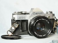 Canon AT-1 Pro 35mm SLR Camera c/w Canon 50mm 1.8 Lens  - Nice - Film Tested